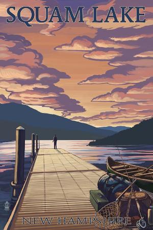 lantern-press-squam-lake-new-hampshire-dock-and-sunset