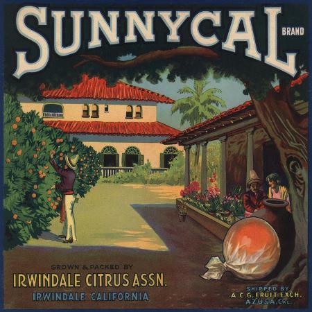 lantern-press-sunnycal-brand-irwindale-california-citrus-crate-label