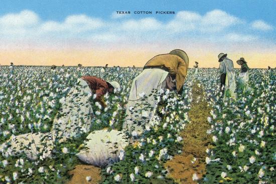 lantern-press-texas-view-of-people-picking-texan-cotton-c-1940