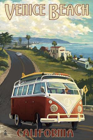 lantern-press-venice-beach-california-vw-van-cruise