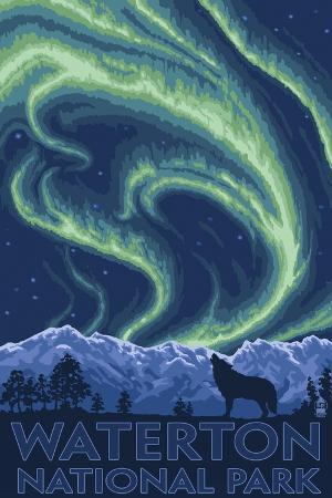 lantern-press-waterton-national-park-canada-northern-lights-wolf
