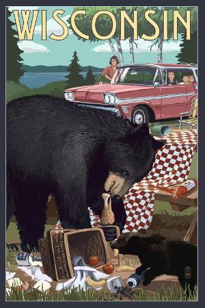 lantern-press-wisconsin-bear-and-picnic-scene