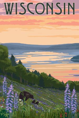 lantern-press-wisconsin-lake-and-bear-family