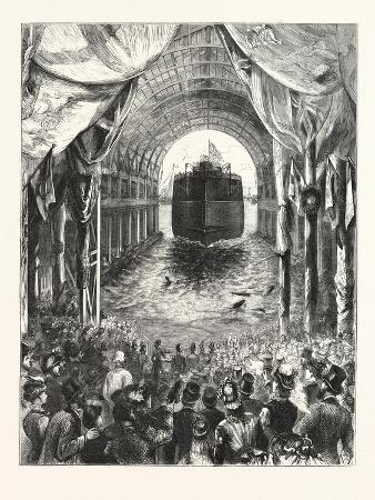 launch-of-h-m-s-inflexible-at-portsmouth-the-vessel-leaving-the-ways-1876-uk