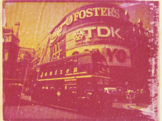 lee-frost-polaroid-image-transfer-of-piccadilly-circus-with-red-double-decker-bus-london-england-uk