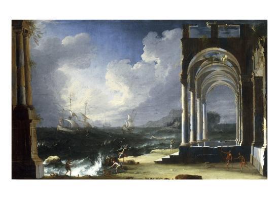 leonardo-coccorante-a-capriccio-view-with-classical-ruins-by-the-sea