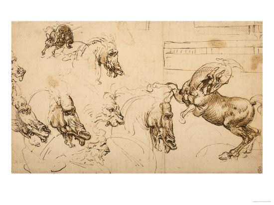 Rearing Horse and Study of Horse, Lion and Human Heads, Drawing ...