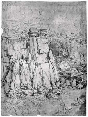 leonardo-da-vinci-study-of-a-rocky-cavern-with-ducks-1482-1485