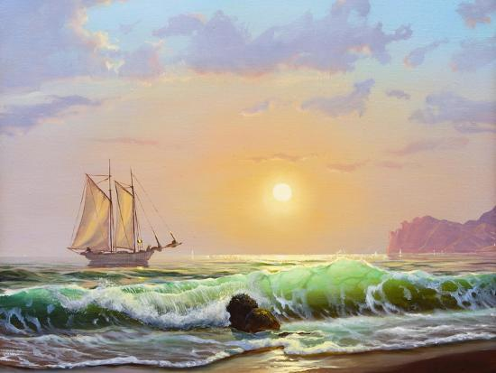 lilun-oil-painting-on-canvas-sailboat-against-a-background-of-sea-sunset