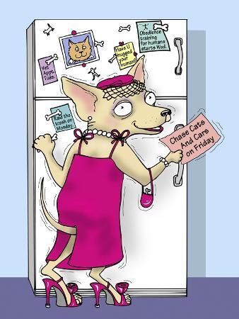 linda-braucht-doggie-at-the-fridge