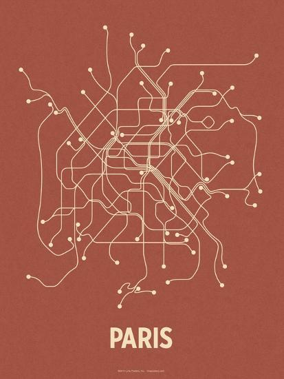 Paris brick red tan serigraph by lineposters at for Red line printing