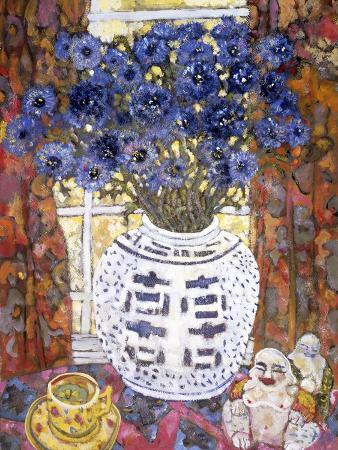 lorraine-platt-blue-flowers-in-an-oriental-vase-with-buddha-figures-on-a-tabletop