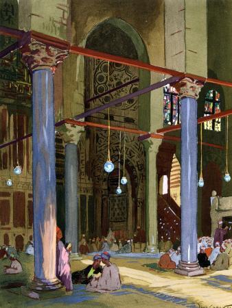 louis-cabanes-interior-of-the-al-mu-ayyad-mosque-cairo-egypt-1928