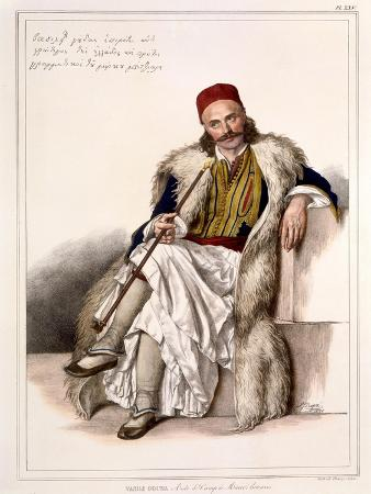 louis-dupre-vanila-gouda-aide-de-camp-of-notis-botazaris-plate-xxv-engraved-by-lemercier-from-voyage-a