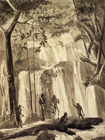 louis-isidore-duperrey-falls-at-fort-praslin-engraving-from-voyage-around-world-1822-1825