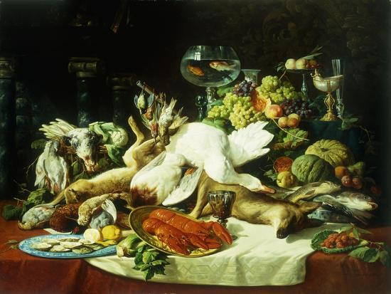 lucas-schaefels-a-still-life-with-fruit-fish-game-and-a-goldfish-bowl
