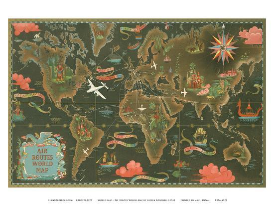 lucien-boucher-world-map-fly-routes-world-map-planisphere