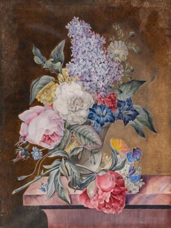 lucy-de-beaurepaire-vase-of-flowers-including-a-rose-and-lilac-on-a-marble-ledge-1841-w-c-and-bodycolour-on-vellum