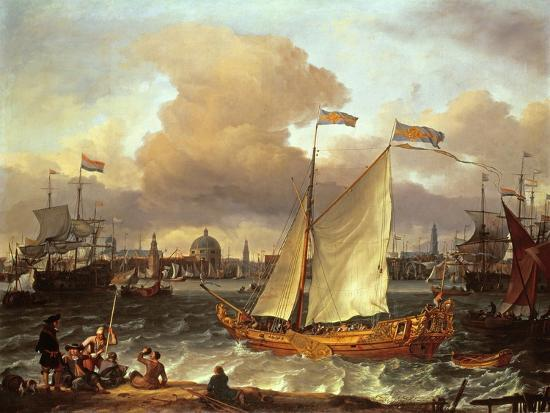 ludolf-backhuysen-the-swedish-yacht-lejouet-in-amsterdam-harbour-1674