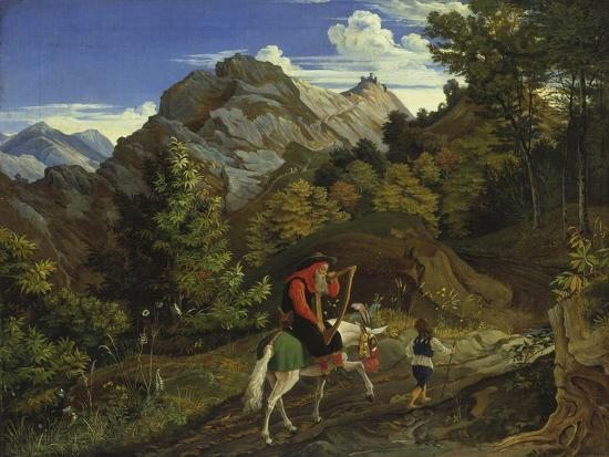ludwig-richter-home-coming-harpist-1825