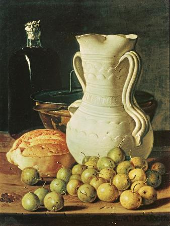 luis-egidio-melendez-still-life-with-bread-greengages-and-pitcher