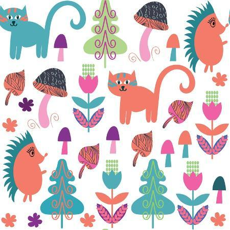 luiza-kozich-cute-animals-seamless-pattern-with-cats-and-hedgehogs-and-seamless-pattern-in-swatch-menu-vector