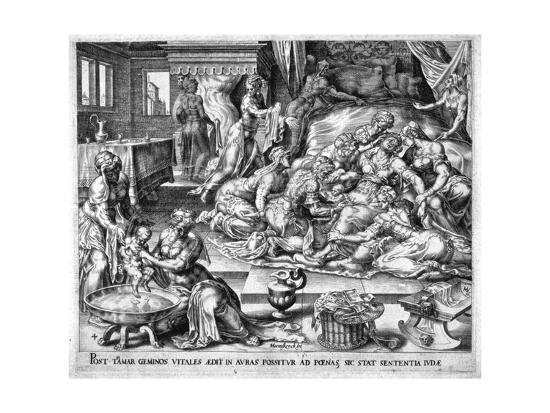 maerten-van-heemskerck-tamar-giving-birth-to-pharez-and-sarah-16th-century