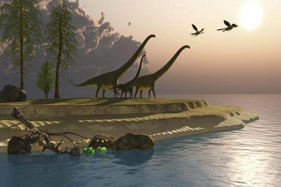 mamenchisaurus-dinosaurs-walk-to-a-lake-for-a-morning-drink