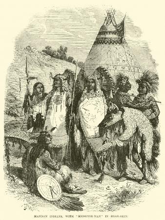 mandan-indians-with-medicine-man-in-bear-skin