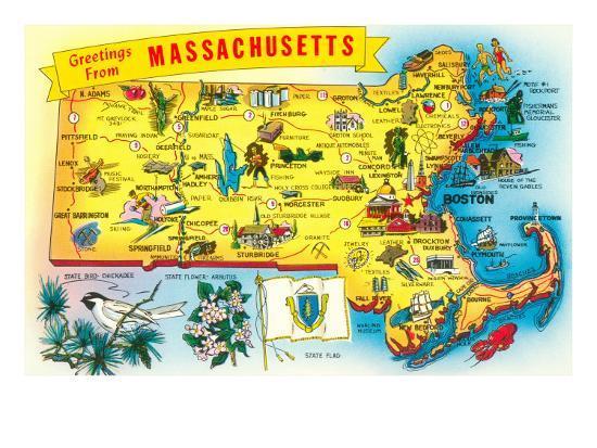 Map Of Massachusetts Art Print At Artcom - Map of massachussets