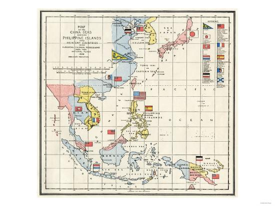 Map of the china seas philippines and european colonies in the map of the china seas philippines and european colonies in the region c1898 publicscrutiny Images