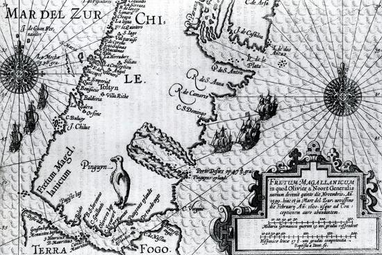 map-of-the-strait-of-magellan-plate-from-oliver-van-noort-s-description-of-his-voyage-1602