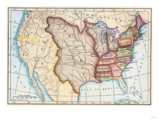 Map Of The US In Showing The Louisiana Purchase Giclee - Us map 1803