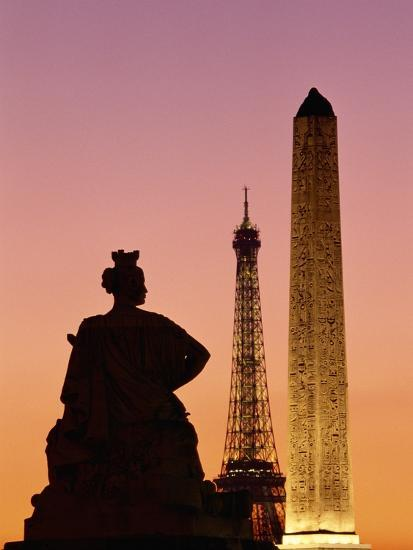 Luxor Tower One Bedroom Suite: Obelisk Of Luxor And Eiffel Tower Photographic Print By