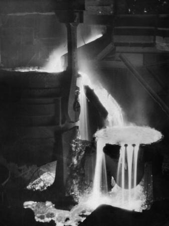 margaret-bourke-white-molten-steel-cascading-in-otis-steel-mill-in-historic-pouring-the-heat-photo