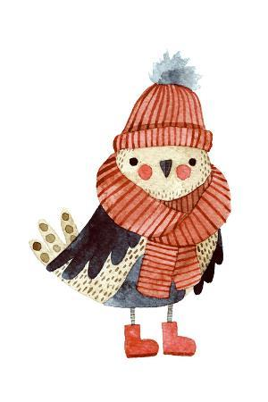 maria-sem-little-cute-bullfinch-with-winter-hat-and-scarf-watercolor-hand-drawn-kids-illustration-christmas
