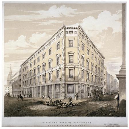 martin-hood-messrs-j-r-morley-s-warehouses-corner-of-wood-street-and-gresham-street-london-c1840