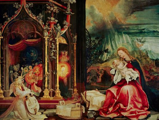 matthias-gruenewald-concert-of-the-angels-the-madonna-in-prayer-and-nativity-from-the-isenheim-altarpiece-1515