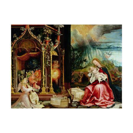 matthias-gruenewald-the-isenheim-altarpiece-central-panel-concert-of-angels-and-nativity-1506-1515
