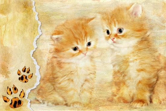 maugli-l-vintage-background-with-paper-border-and-kittens-picture