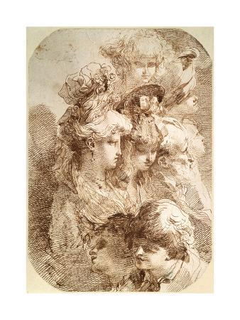 mauro-gandolfi-studies-of-eight-heads-late-18th-or-early-19th-century