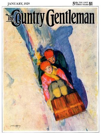 mcclelland-barclay-couple-on-toboggan-country-gentleman-cover-january-1-1929
