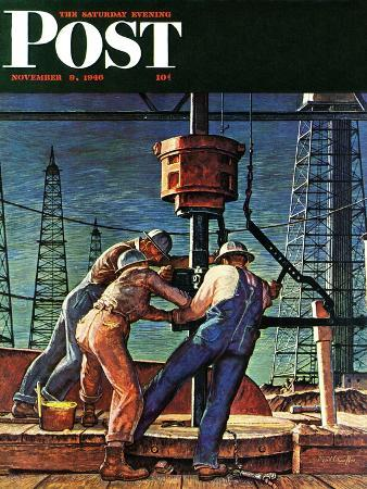 mead-schaeffer-drilling-for-oil-saturday-evening-post-cover-november-9-1946