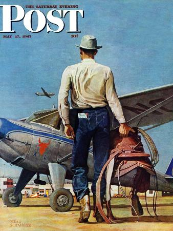 mead-schaeffer-flying-cowboy-saturday-evening-post-cover-may-17-1947