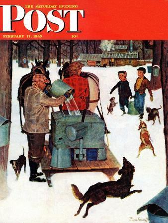 mead-schaeffer-maple-syrup-time-in-vermont-saturday-evening-post-cover-february-17-1945