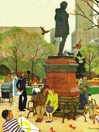 mead-schaeffer-romance-under-shakespeare-s-statue-april-28-1945