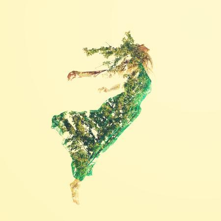 melpomene-double-exposure-of-woman-flying-with-leaves