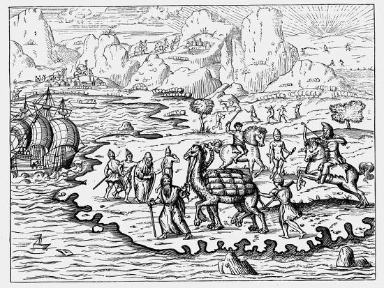 merchants-transporting-goods-to-the-coast-and-a-waiting-vessel-by-camel-1575