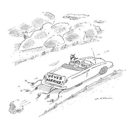michael-maslin-man-driving-sports-car-with-cans-and-sign-hanging-from-trunk-reading-neve-new-yorker-cartoon