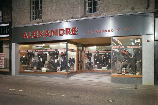 michael-walters-alexandre-of-oxford-street-mens-clothes-shop-frontage-mexborough-south-yorkshire-1963